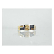 Tiger Eye, Jet & Jasper Inlay Ring Size 11 1/2