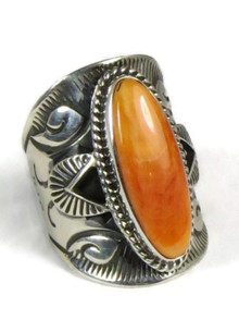 Spiny Oyster Shell Wide Silver Cigar Band Ring Size 7 by Derrick Gordon
