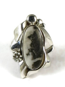 Silver White Buffalo Ring Size 6 1/2 by Les Baker Jewelry