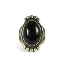Silver Black Onyx Ring Size 7 1/2 by Raymond Coriz, Santo Domingo