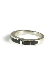 Silver Black Onyx Inlay Ring Size 8