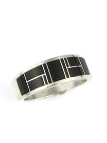 Silver Black Onyx Inlay Ring Size 11 (RG5011)