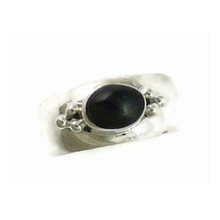 Sterling Silver Onyx Band Ring Size 6