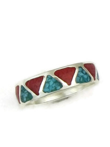 Turquoise & Coral Chip Inlay Ring Size 13