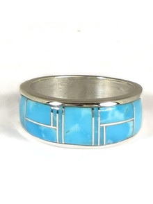 Kingman Turquoise Inlay Ring Size 10