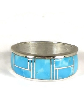 Kingman Turquoise Inlay Ring Size 10