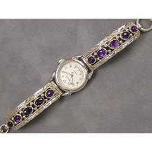 Navajo Amethyst Toggle Watch Bracelet