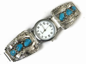 Sterling Silver Turquoise Watch (WTH502)