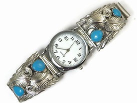 Sterling Silver Turquoise Watch (WTH504)