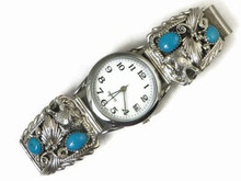 Sterling Silver Wolf & Turquoise Watch