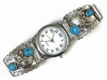 Sterling Silver Turquoise Watch - Native American Watch (WTH506)