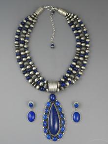 Three Strand Lapis Pendant Necklace Set by LaRose Ganadonegro