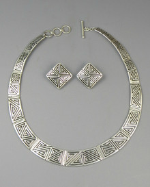 Sterling Silver Geometric Collar Necklace Set by Elgin Tom