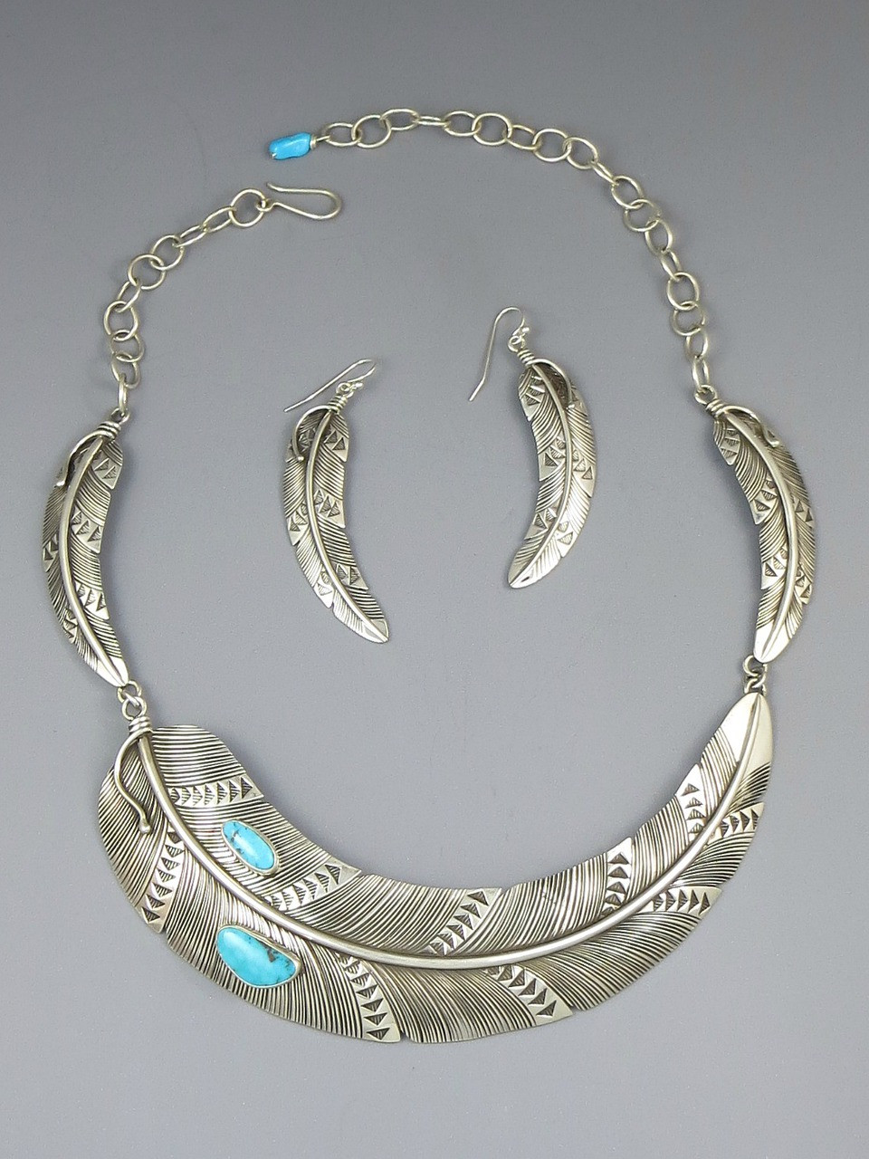 Sterling Silver Blue Ridge Turquoise Feather Necklace Earring Set