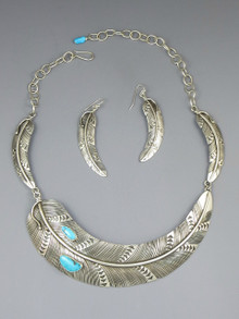 Sterling Silver Blue Ridge Turquoise Feather Necklace & Earring Set by Lambert Perry