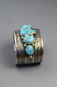 Kingman Turquoise Five Stone Row Bracelet by Darryl Becenti