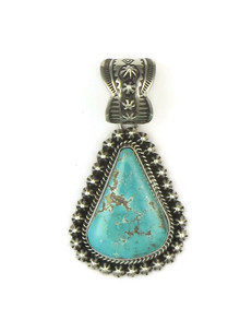 Front view of turquoise pendant showing color and matrix.