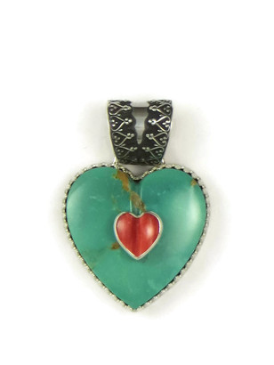 Kingman Turquoise & Spiny Oyster Shell Heart Pendant 3 by Elgin Tom