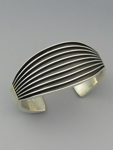 Sterling Silver Channel Cuff Bracelet by Francis Jones