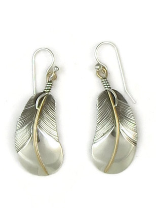 "12k Gold & Sterling Silver Curved Feather Earrings 1 3/4"" by Lena Platero"
