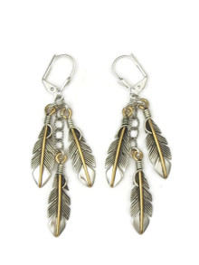 12k Gold & Sterling Silver Three Feather Earrings by Lena Platero
