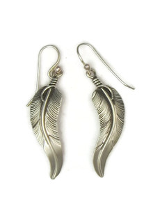 "Sterling Silver Curved Feather Earrings 2"" by Lena Platero"