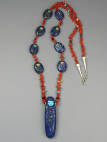 SOLD - Lapis & Coral Corn Maiden Carving Necklace Set by Zuni Artist, Sandra Quandelacy