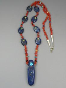 SOLD - Lapis & Coral Corn Maiden Carving Necklace Set by Zuni Artist, Sandra Quandelacy