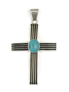 Sterling Silver Turquoise Channel Cross Pendant by Francis Jones