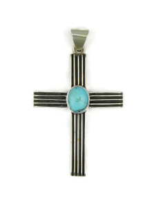 Sterling Silver Turquoise Channel Cross Pendant by Francis Jones (PD3074)