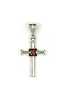 Silver Mediterranean Coral Cross Pendant