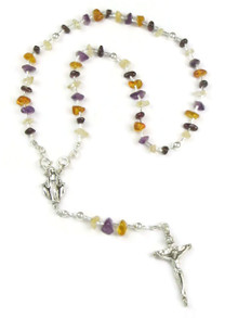 Amethyst, Citrine, Amber & Garnet Nugget Rosary Beads with Detachable Beads