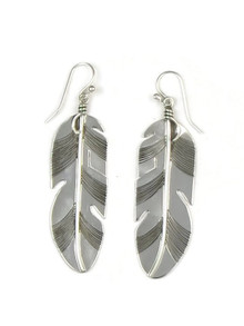 Sterling Silver Feather Earrings by Lena Platero (ER4688)