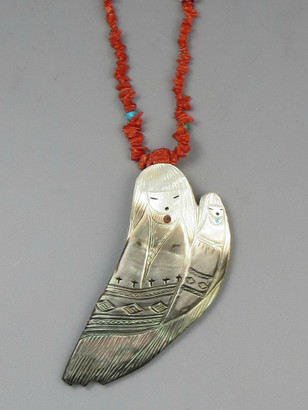 Mother of Pearl & Coral Reversible Corn Maiden Necklace by Sandra Quandelacy