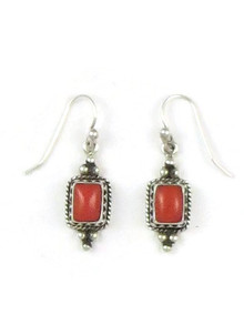 Mediterranean Coral Gallery Wire Earrings by Angela Bia
