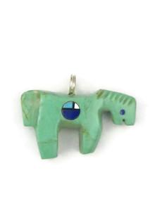 Zuni Turquoise Horse Fetish Pendant by Georgia Quandelacy