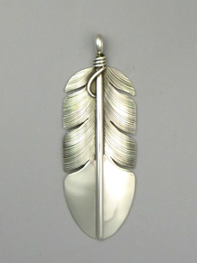 Sterling Silver Feather Pendant by Lena Platero (PD3766)