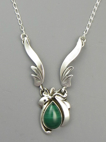Sterling Silver Malachite Necklace by Les Baker Jewelry