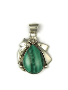 Sterling Silver Malachite Pendant by Les Baker Jewelry (PD3674)