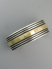 14k Gold & Sterling Silver Cuff Bracelet by Bruce Morgan (BR5583)