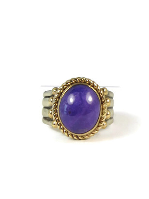 14k Gold & Sterling Silver Sugilite Ring Size 7 1/4 by Santo Domingo, Raymond Coriz