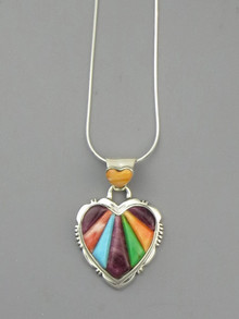 Multi Gemstone Scultped Inlay Heart Pendant
