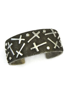 Silver Tufa Cast Mixed Cross Cuff Bracelet by Ernest Rangel