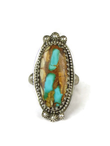 Royston Boulder Turquoise Gallery Wire Ring Size 7 1/2 by Les Baker