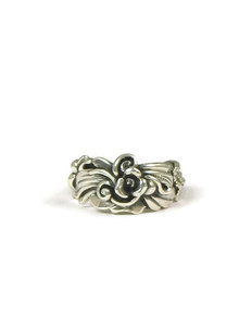Silver Floral Ring Size 5 1/2 by Les Baker Jewelry