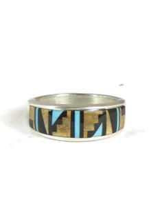 Jasper, Jet & Turquoise Inlay Ring Size 10 1/2
