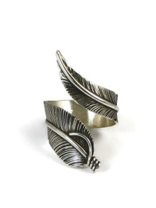 Sterling Silver Wide Feather Wrap Ring Size 7 Adjustable by Lena Platero