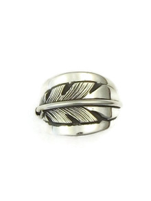 Silver Feather Ring Size 8 by Lena Platero