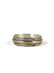 12k Gold & Silver Feather Band Ring Size 11 1/2