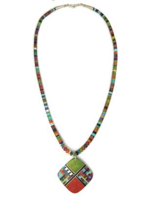 Mosaic Inlay Gemstone Heishi Necklace